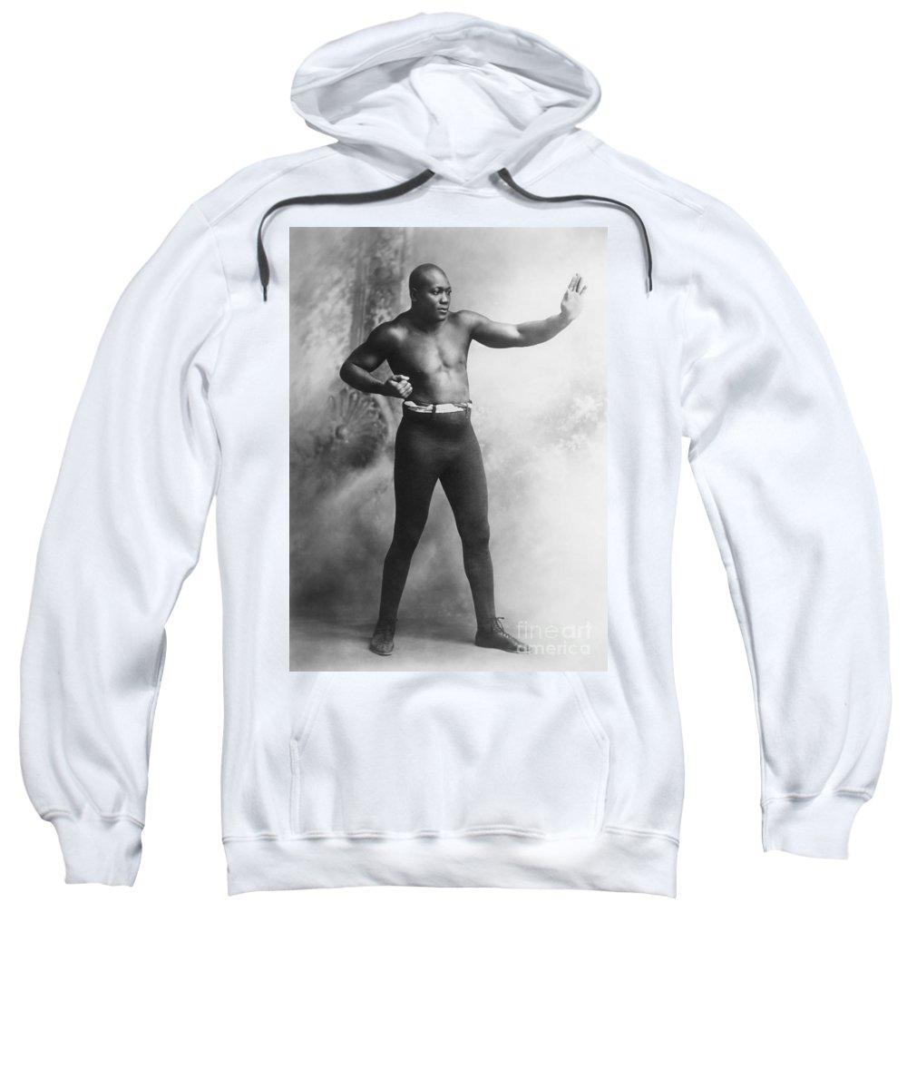 1909 Sweatshirt featuring the photograph Jack Johnson (1878-1946) by Granger