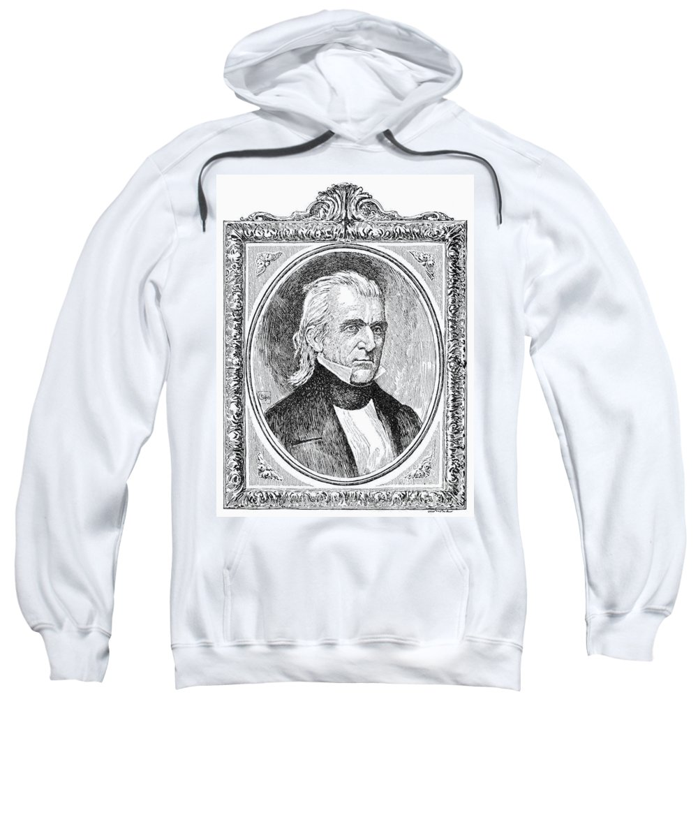 19th Century Sweatshirt featuring the photograph James K. Polk (1795-1849) by Granger