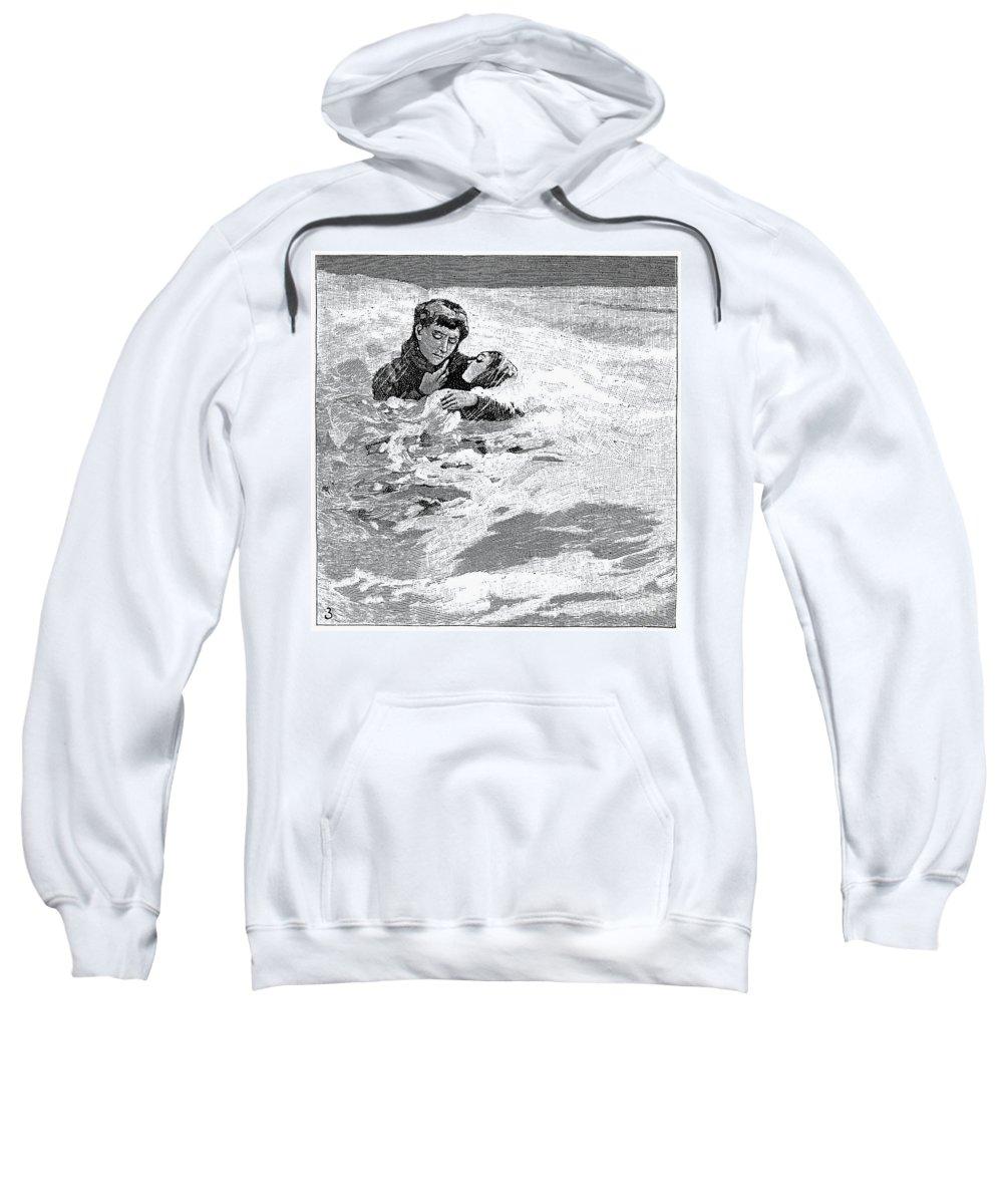 1888 Sweatshirt featuring the photograph Dakota Blizzard, 1888 by Granger
