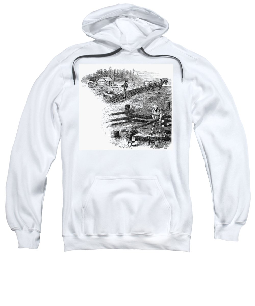 1878 Sweatshirt featuring the photograph Oregon Trail Emigrants by Granger
