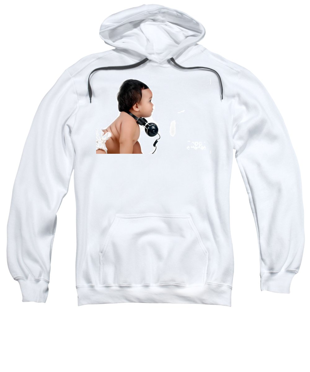 Baby Sweatshirt featuring the photograph A Chubby Little Girl With Headphones by Antoni Halim