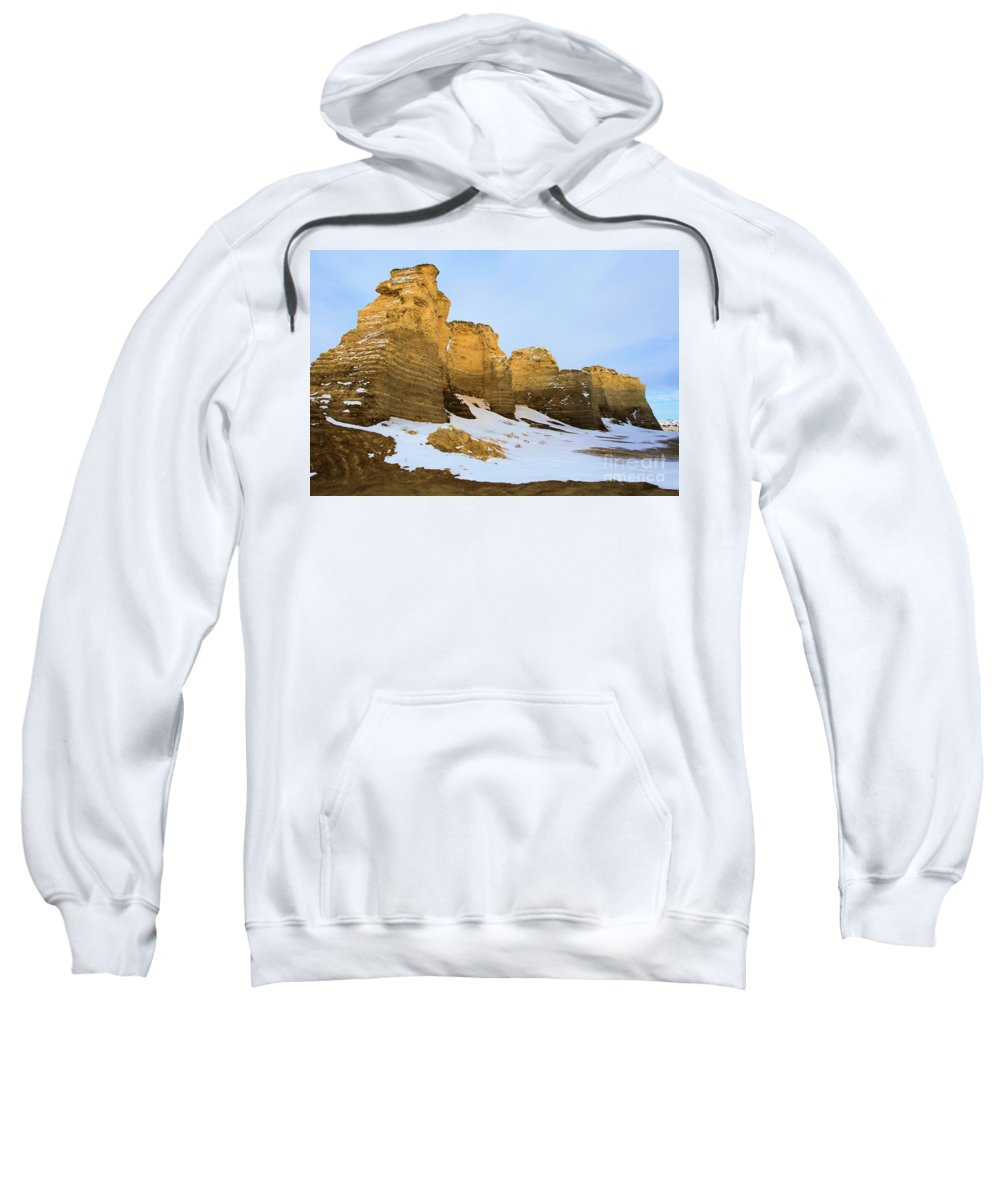 Monument Rocks Sweatshirt featuring the photograph A Dusting On Monument Rocks by Adam Jewell