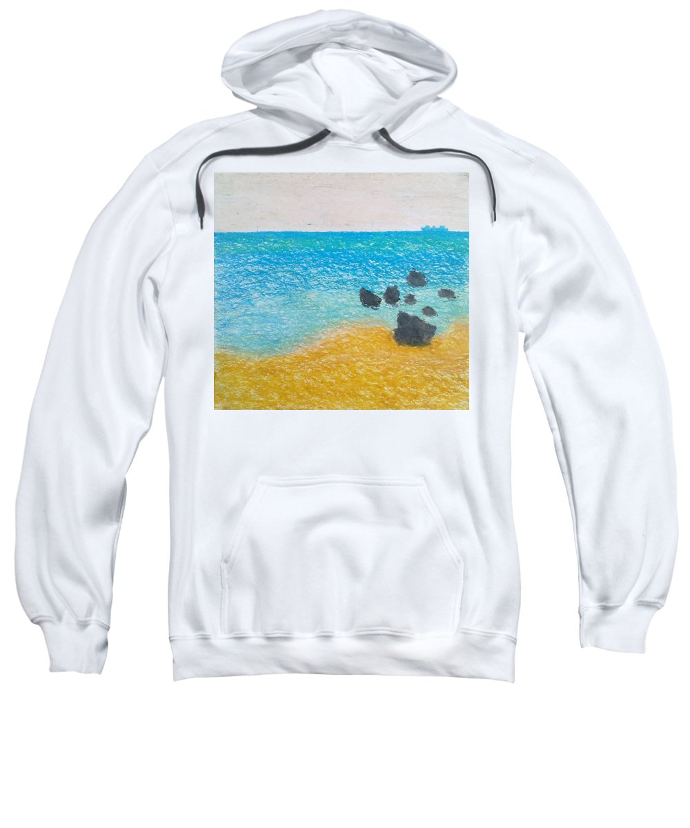 Contemplative Sweatshirt featuring the painting A Frozen Moment by Michael Woolcock