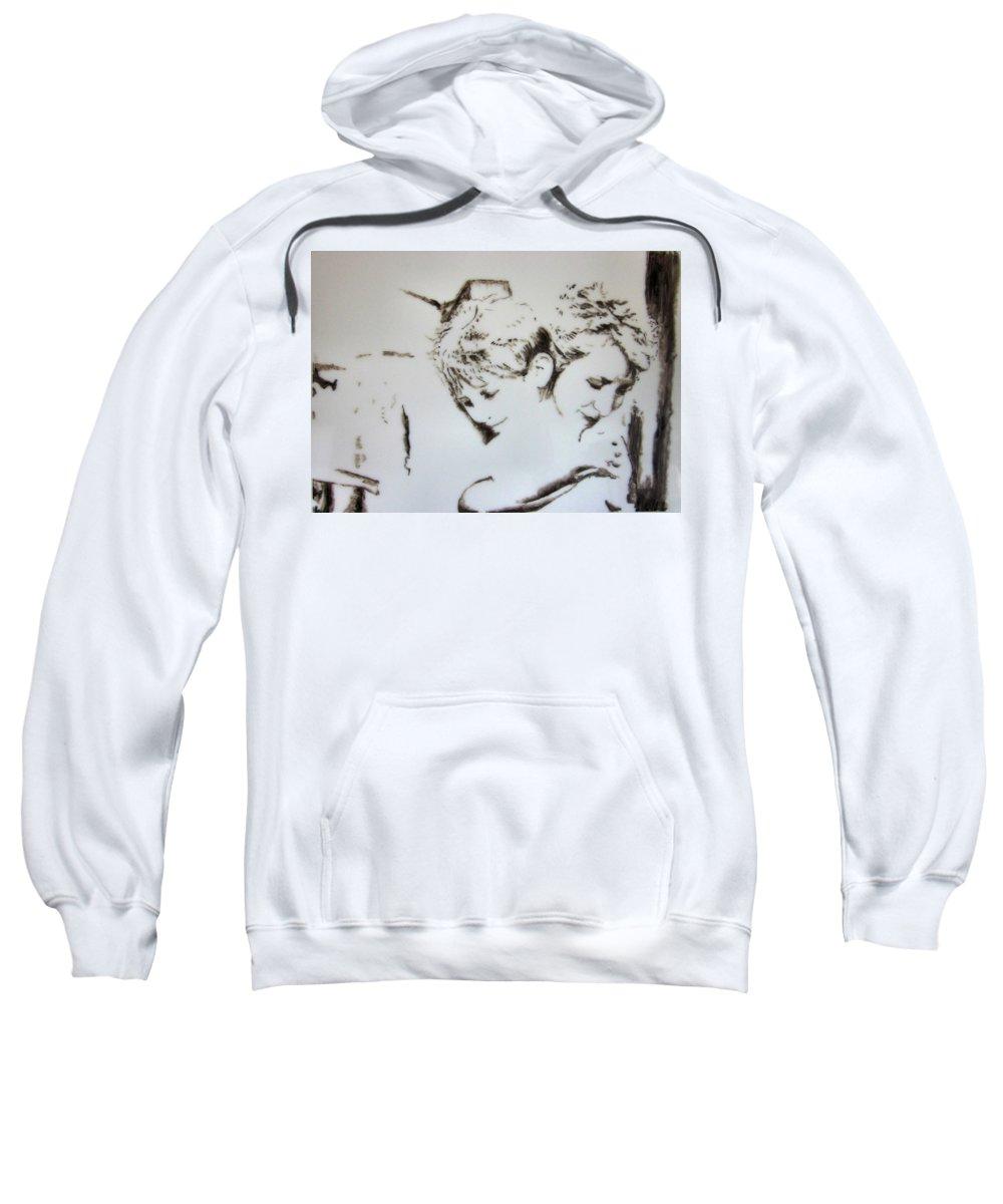 Portrait Sweatshirt featuring the painting A Loving Hug by Maris Sherwood