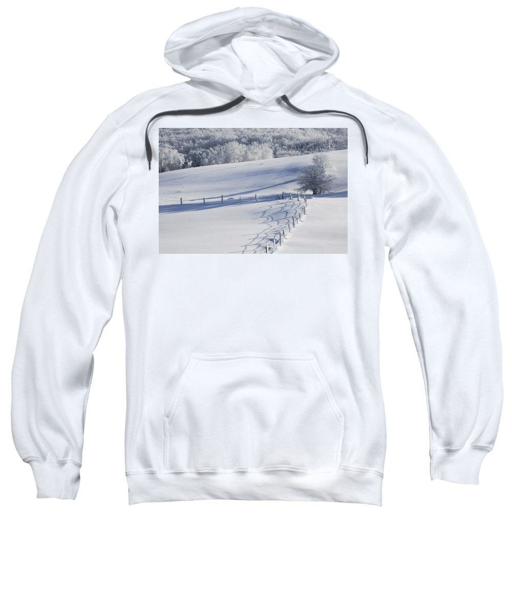 Color Image Sweatshirt featuring the photograph A Snowy Field by David Chapman
