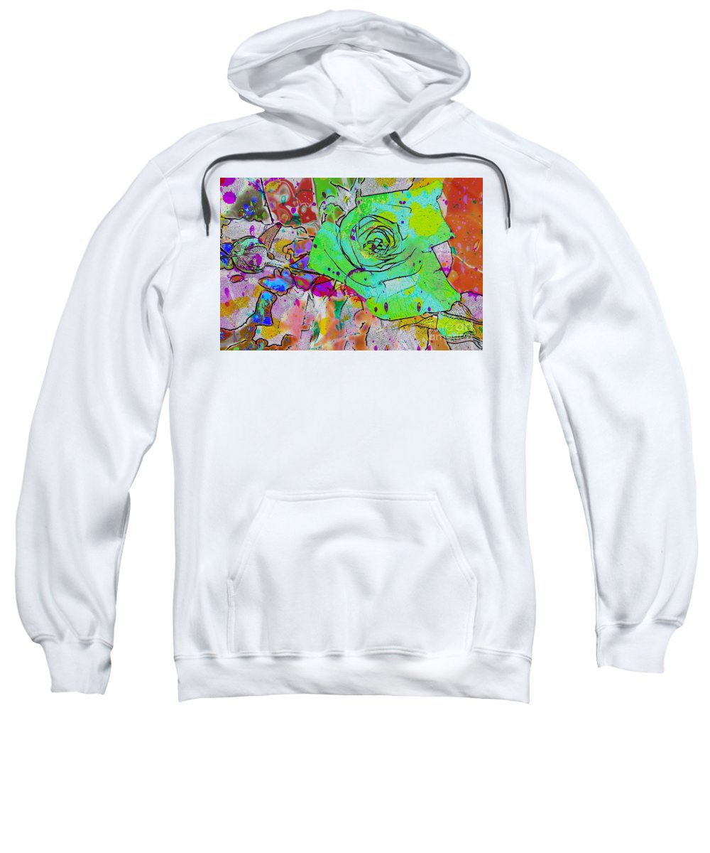 Abstract Rose Sweatshirt featuring the digital art Abstract Childlike Rose by Barbara Griffin
