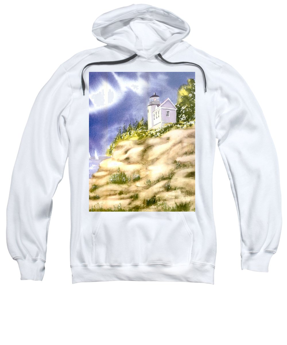 Acadia Sweatshirt featuring the painting Acadia Lighthouse by Joseph Gallant