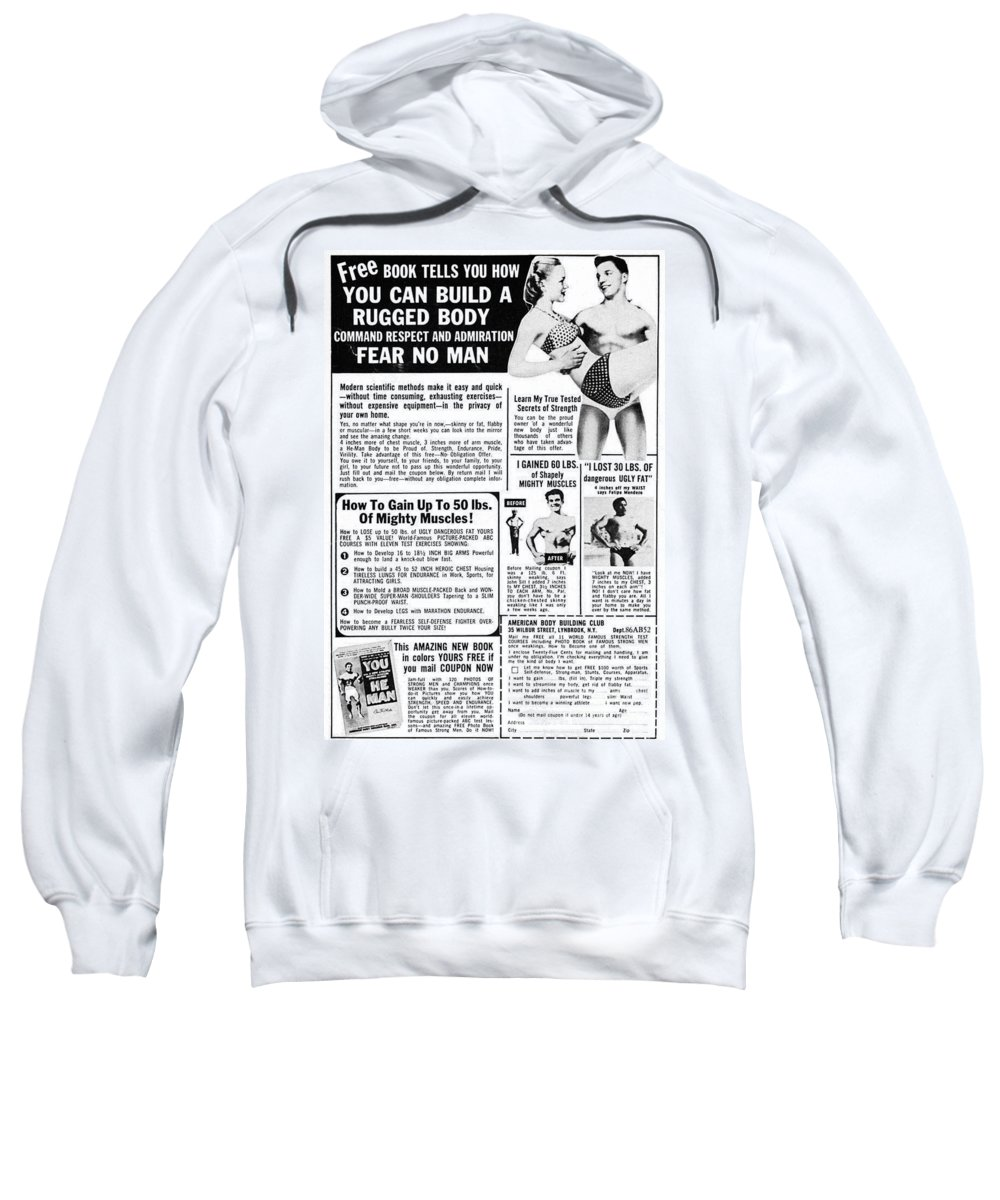 1969 Sweatshirt featuring the photograph Ad: Body-building, 1969 by Granger