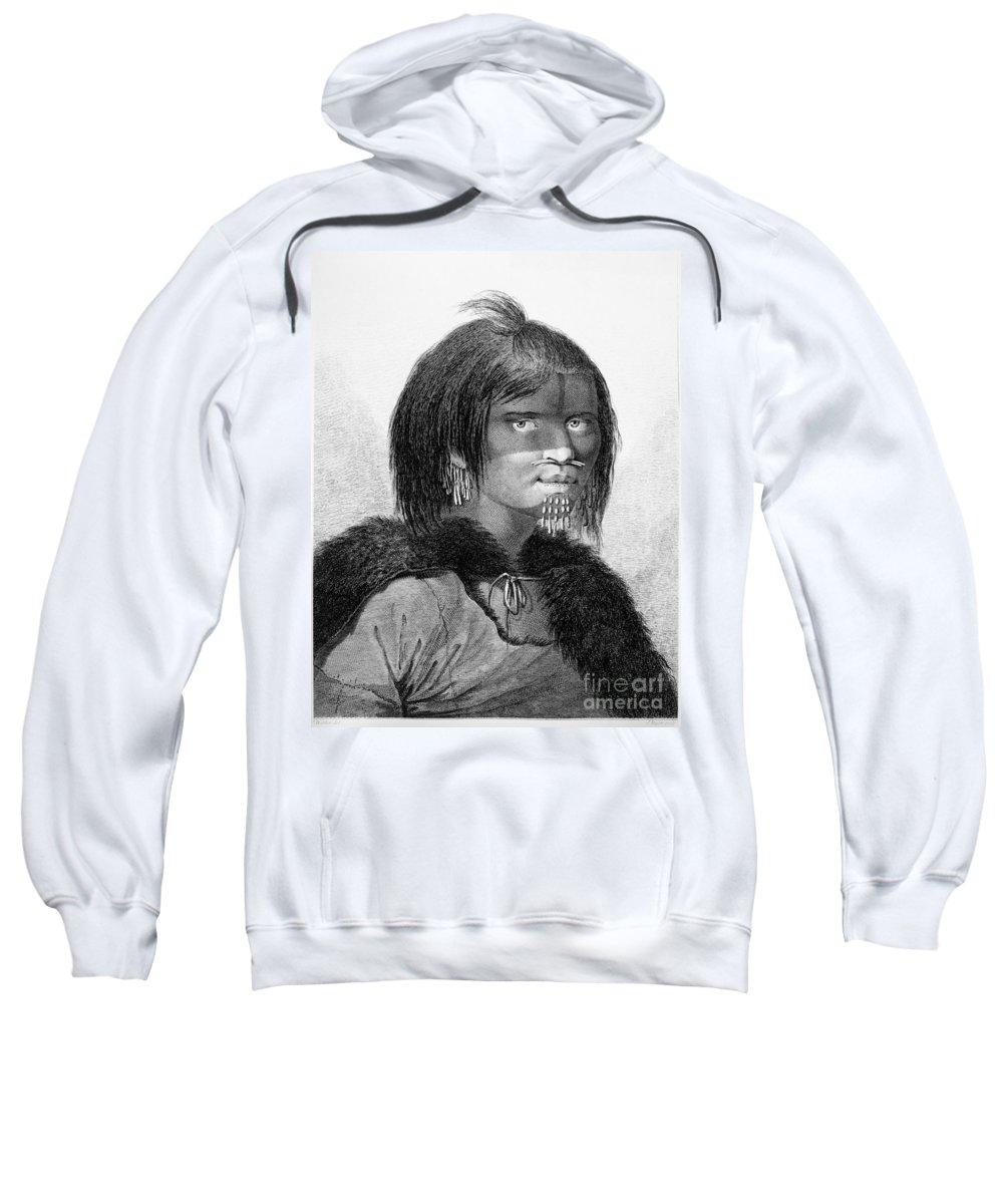 1784 Sweatshirt featuring the photograph Alaska: Woman, C1784 by Granger