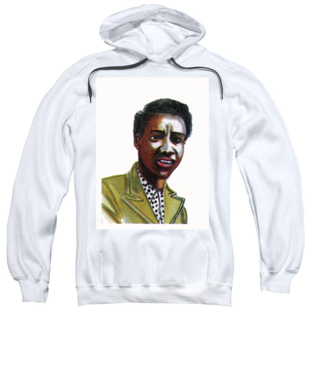 Portraits Sweatshirt featuring the painting Althea Gibson by Emmanuel Baliyanga