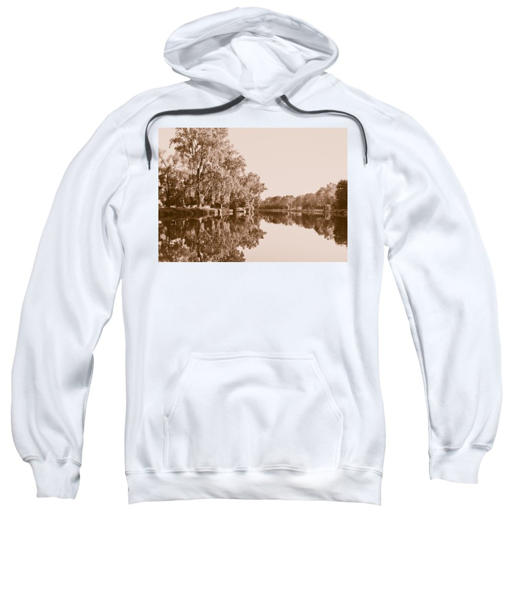 Landscape Photo Sweatshirt featuring the photograph Amber Reflection by Sara Frank
