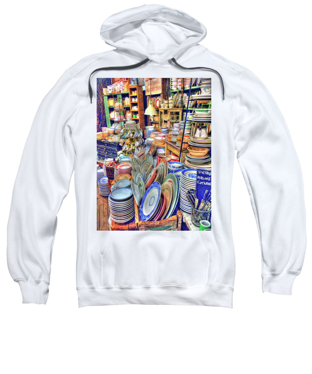 Fishs Eddy Sweatshirt featuring the photograph Antique Dishes Fishs Eddy New York by Dave Mills