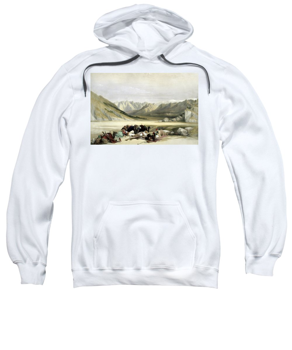 Mount Sinai Sweatshirt featuring the photograph Approach To Mount Sinai Wady Barah Feby 17th 1839 by Munir Alawi
