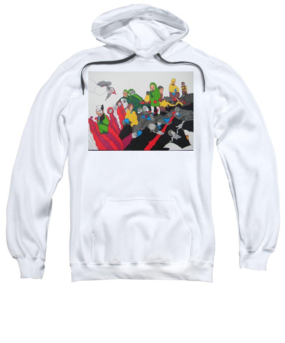 Arab Spring Sweatshirt featuring the painting Arab Despair by Marwan George Khoury
