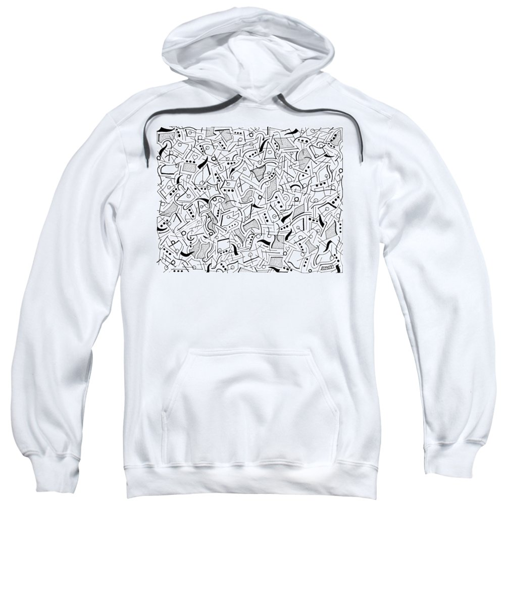 Maze Sweatshirt featuring the drawing Arpeggio by Steven Natanson