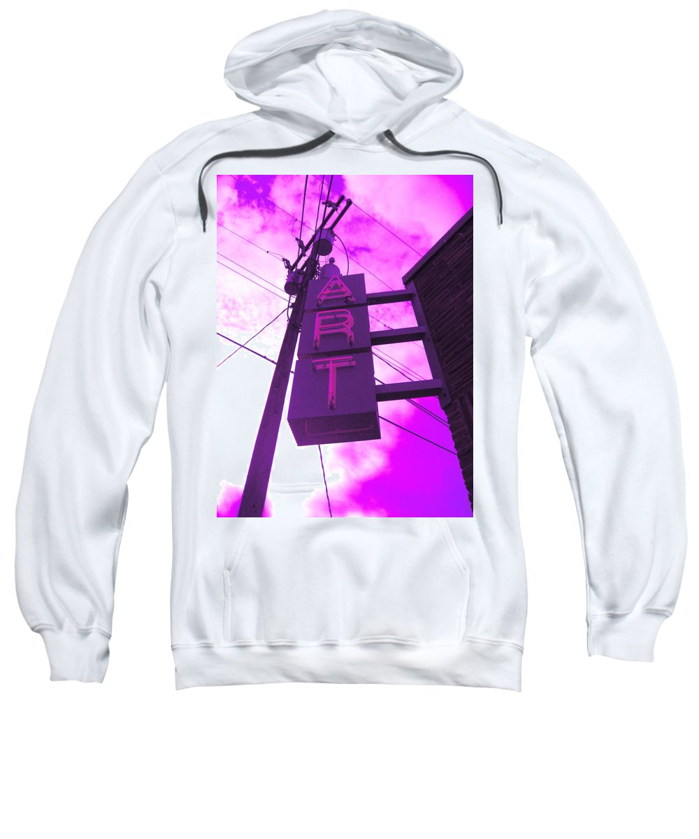 Purple Art Sign In The Clouds Sweatshirt featuring the photograph Art Sign by Kym Backland