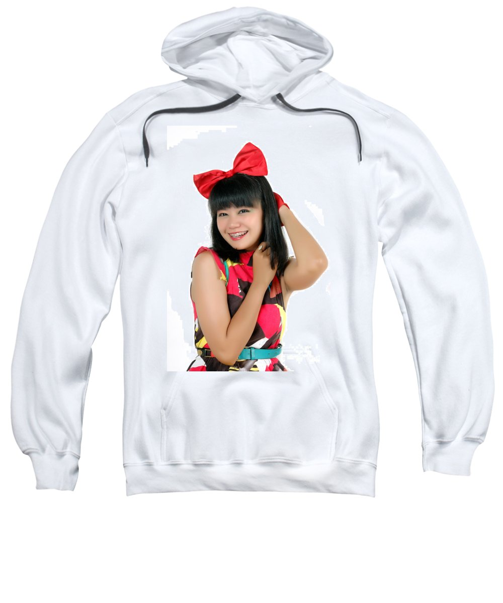 Asia Sweatshirt featuring the photograph Attractive Young Woman by Antoni Halim