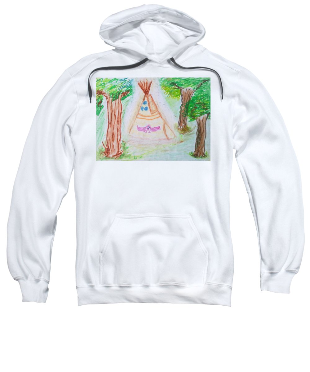 Nth American Indian Sweatshirt featuring the painting Awakening Dreams by Michael Woolcock