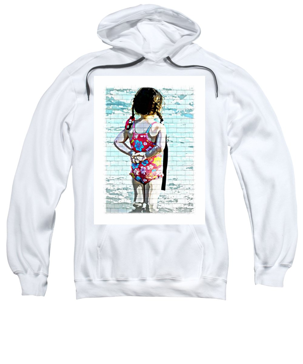 Little Girl Swimsuit Pool Water Ponytails Sweatshirt featuring the photograph Bathing Beauty by Alice Gipson