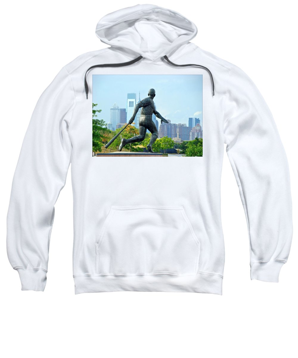 Baseball Statue Citizens Bank Park City View Philadelphia Sweatshirt featuring the photograph Batters City View by Alice Gipson