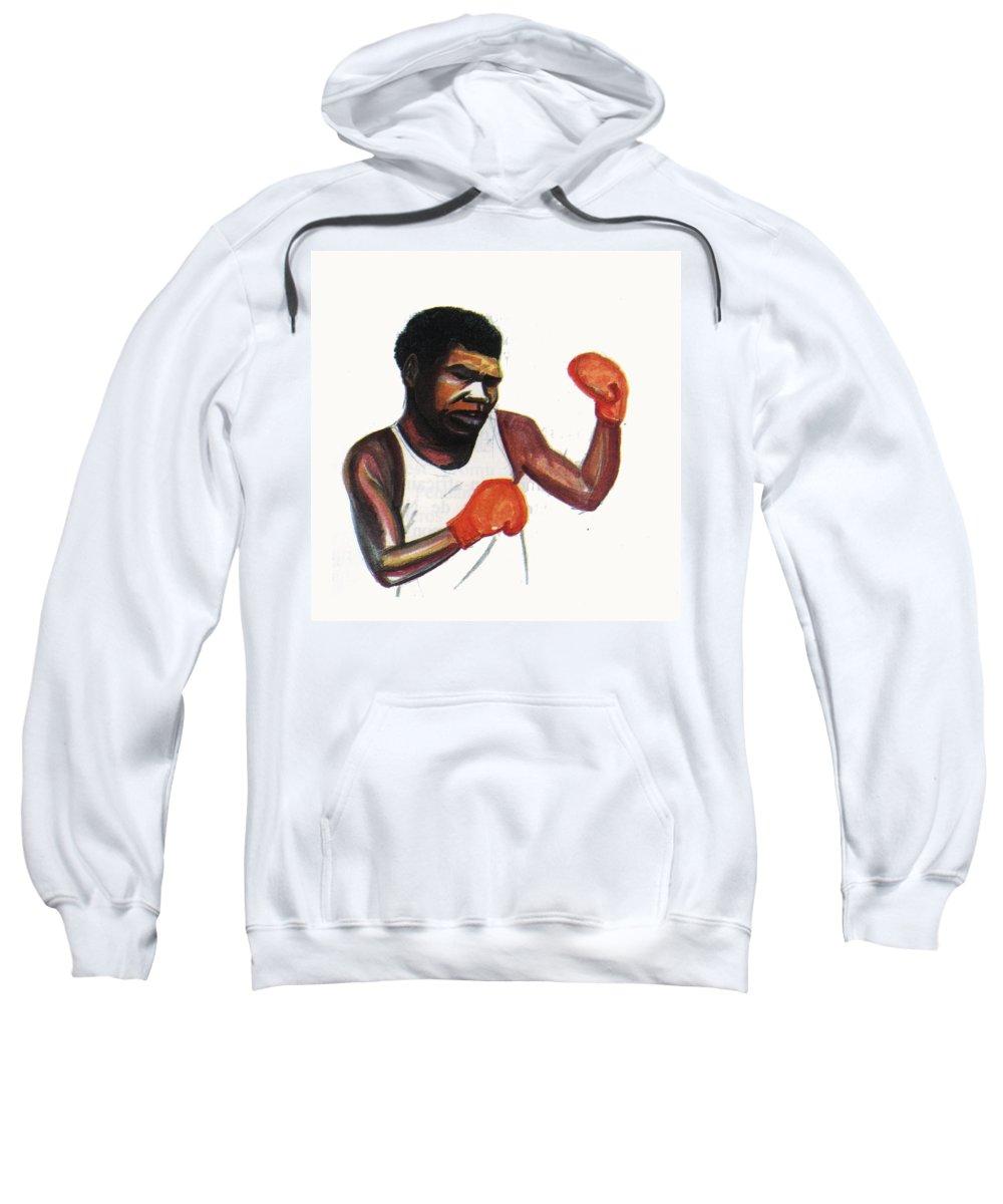 Portraits Sweatshirt featuring the painting Battling Siki by Emmanuel Baliyanga