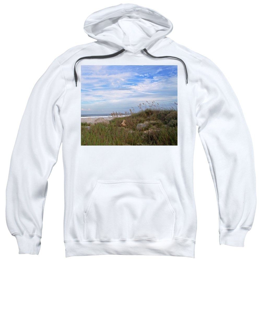 Sea Grass Sweatshirt featuring the photograph Beach Rocks by Patricia Taylor