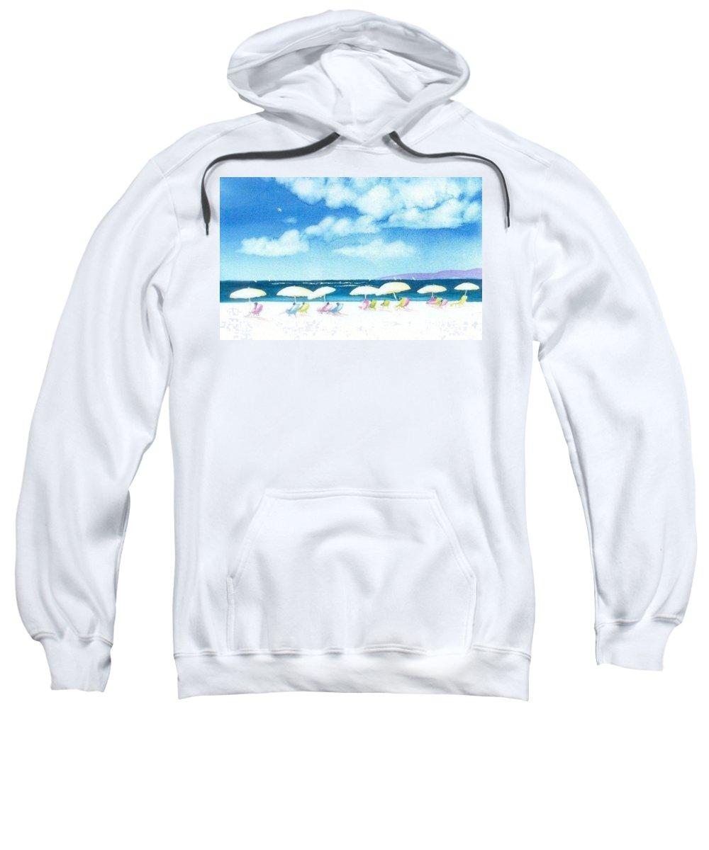 Beach Sweatshirt featuring the painting Beach Umbrellas by Joseph Gallant