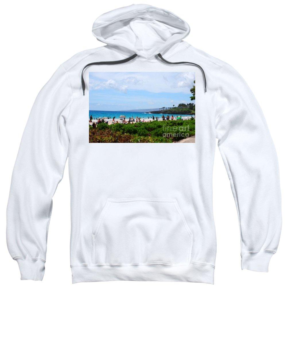 Hawaii Sweatshirt featuring the photograph Beach Umbrellas by Paulette B Wright