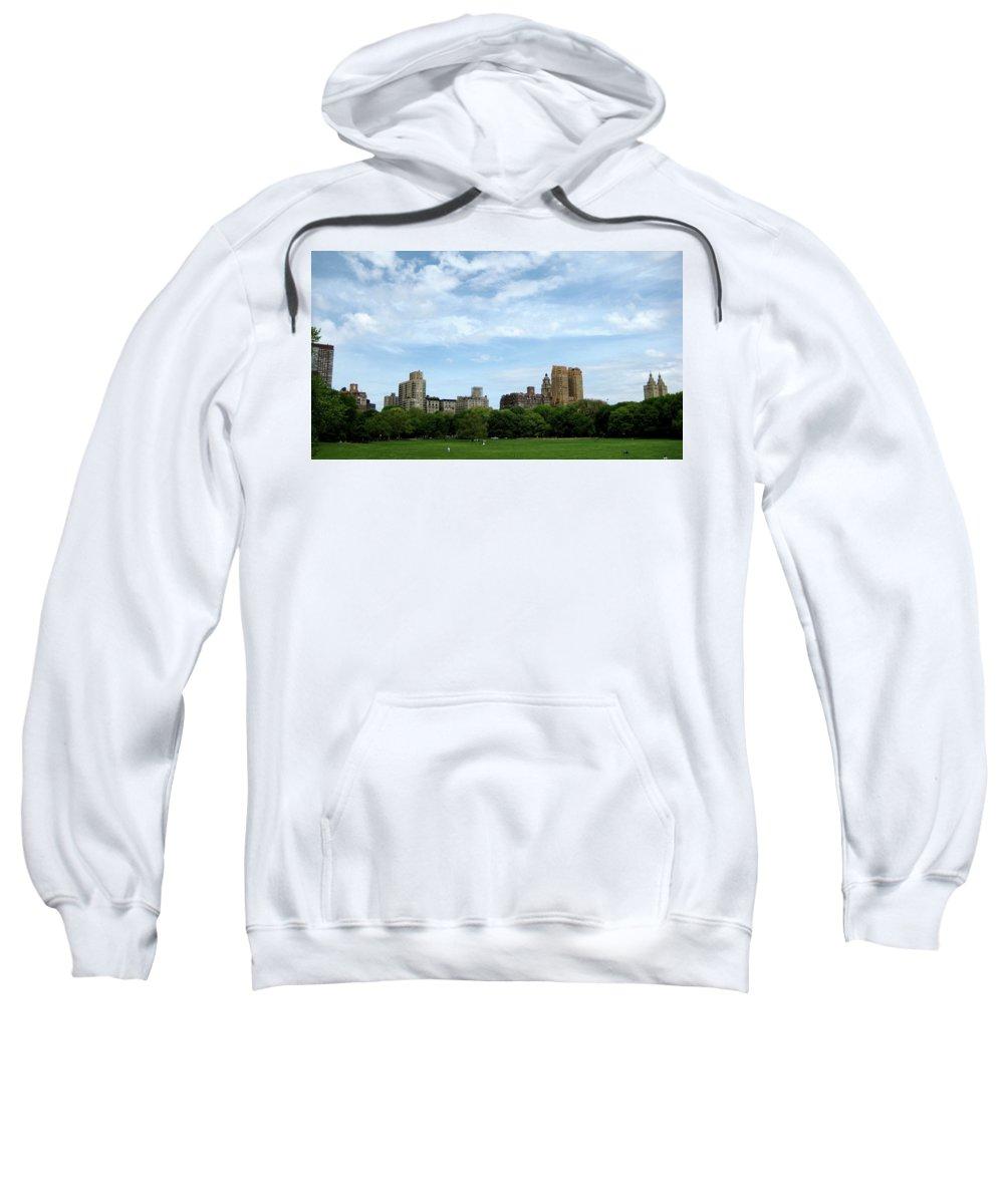 New York Sweatshirt featuring the photograph Big Sky Nyc by Lorraine Devon Wilke