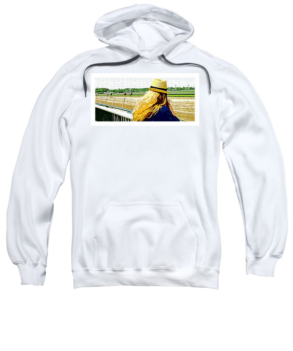 Blonde Racetrack Sweatshirt featuring the photograph Blonde At Racetrack by Alice Gipson