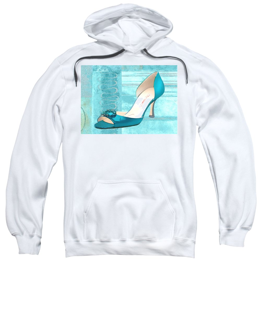 Shoes Heels Pumps Fashion Designer Feet Foot Shoe Sweatshirt featuring the painting Blue Satin Ball Gown Pump by Elaine Plesser