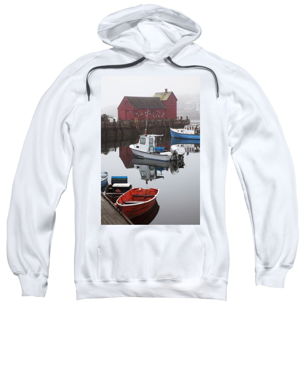 Angle Sweatshirt featuring the photograph Boats At Rockport Harbor by Jenna Szerlag