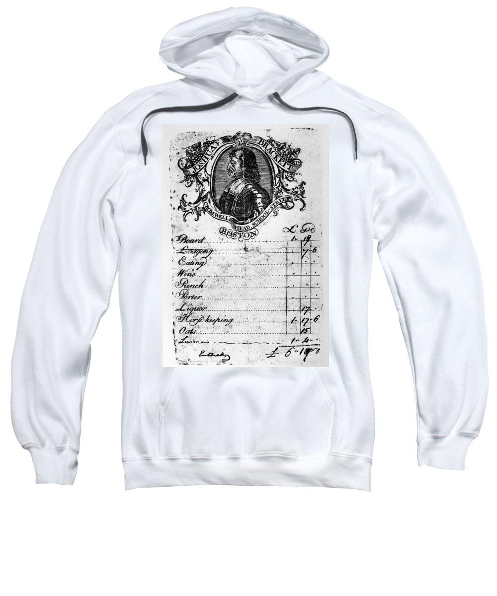 1768 Sweatshirt featuring the photograph Boston: Hotel Bill, C1768 by Granger