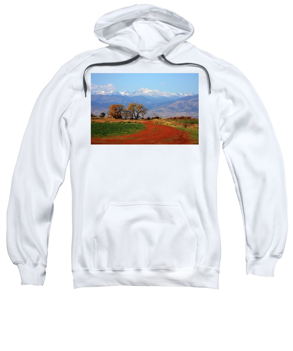 Boulder Sweatshirt featuring the photograph Boulder County Colorado Landscape Red Road Autumn View by James BO Insogna