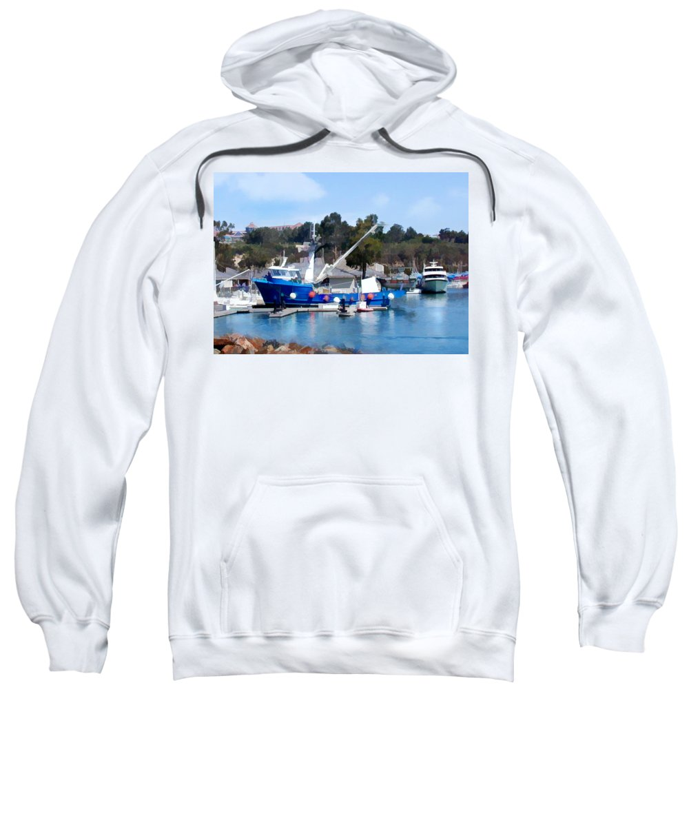 Boats Sweatshirt featuring the painting Bright Blue Fishing Ship by Elaine Plesser