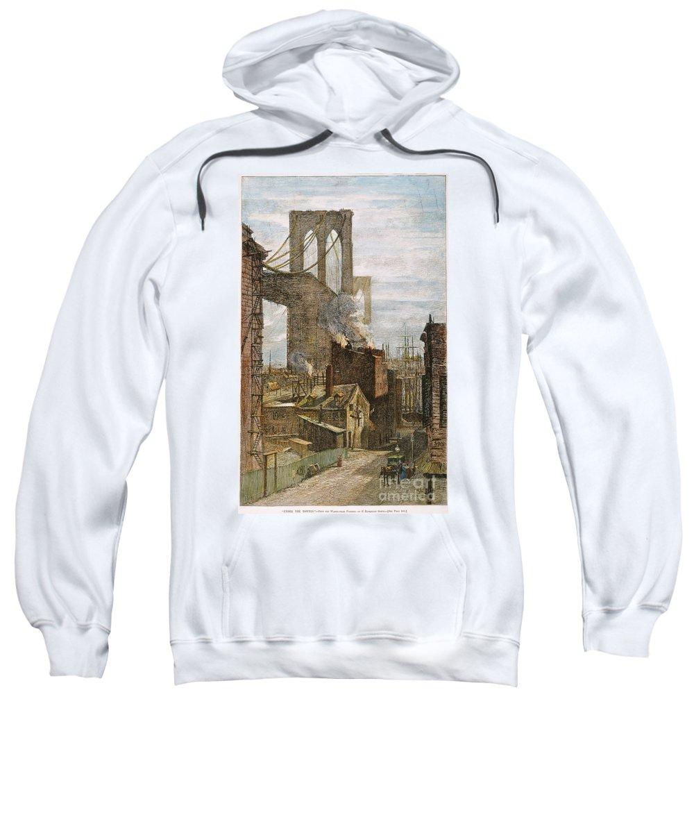 1882 Sweatshirt featuring the photograph Brooklyn Bridge, 1882 by Granger