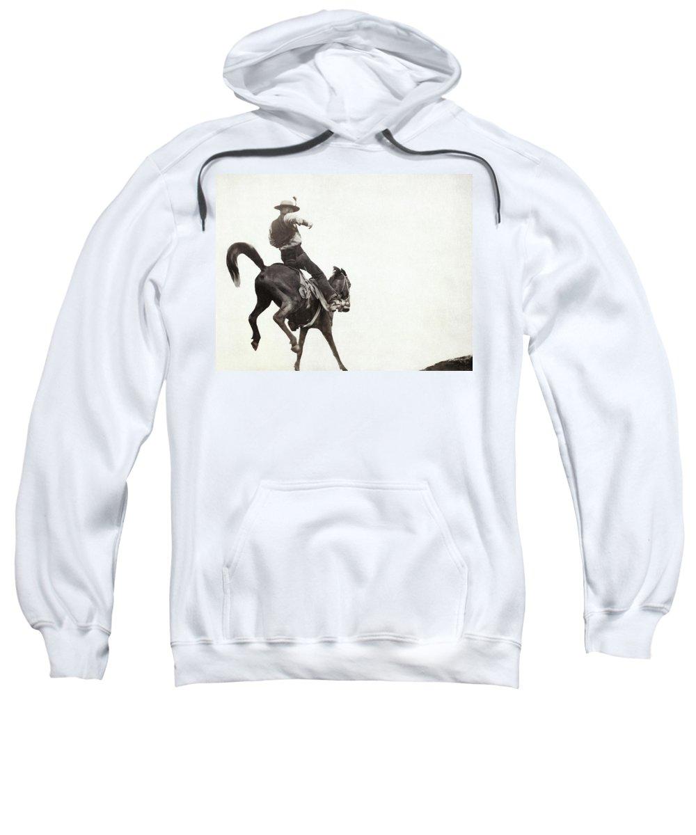 1888 Sweatshirt featuring the photograph Bucking Bronco, C1888 by Granger