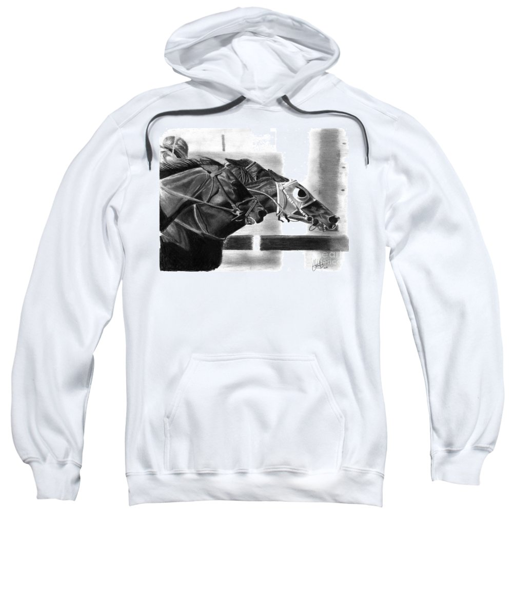 Horse Sweatshirt featuring the drawing By A Nose by Christian Conner
