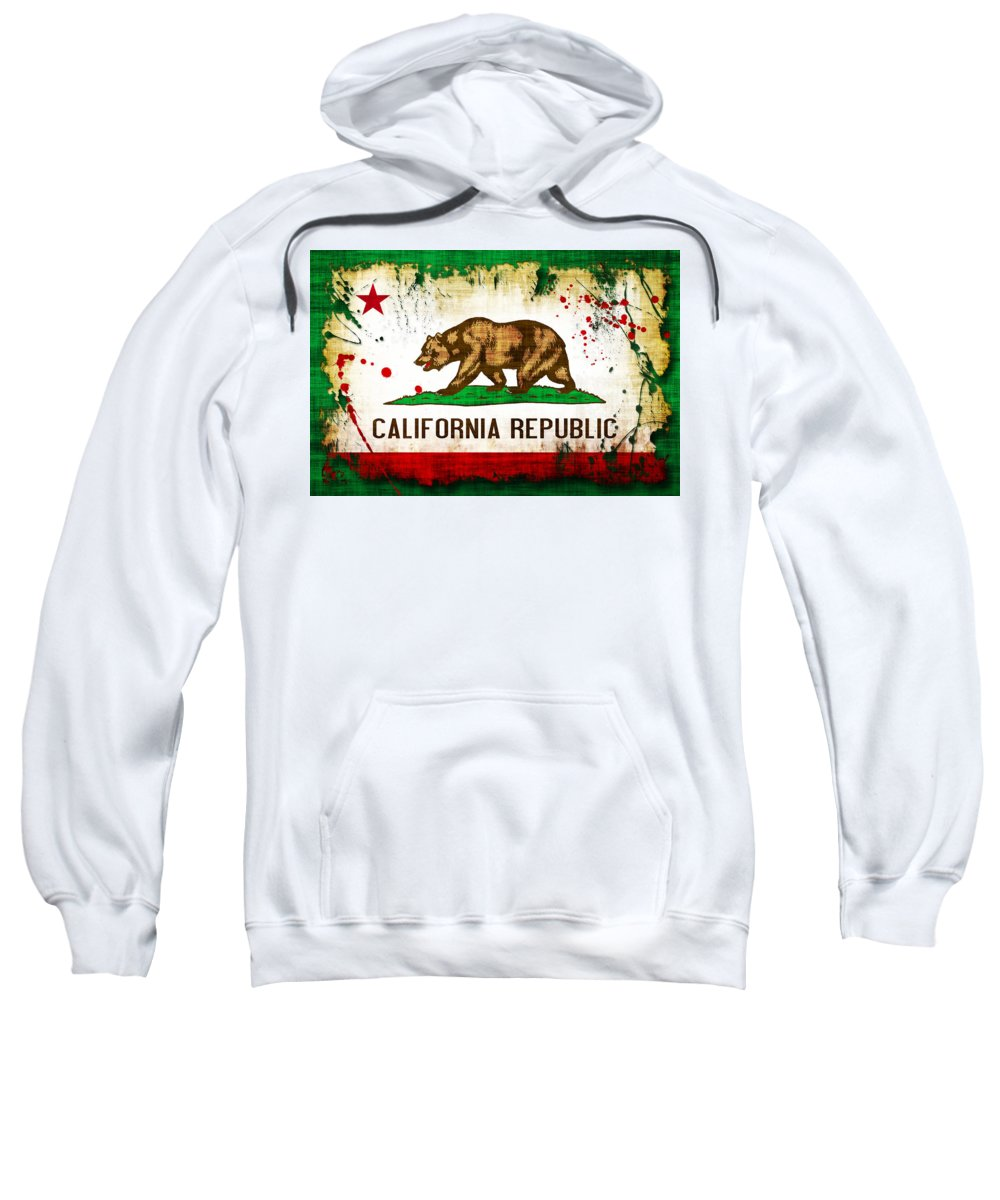 California Sweatshirt featuring the photograph California Grunge Style Flag by David G Paul