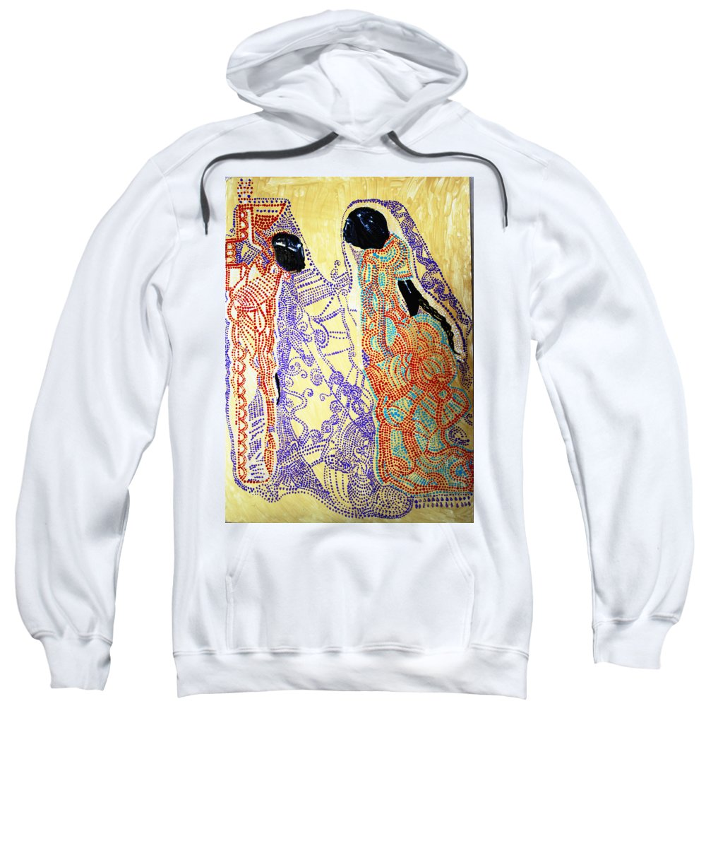 Jesus Sweatshirt featuring the painting Calvary by Gloria Ssali