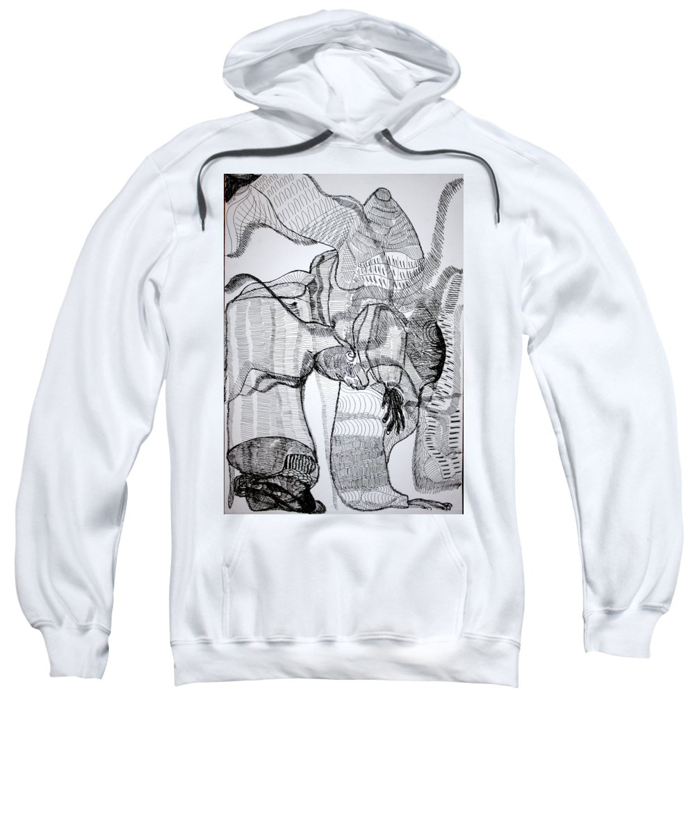 Jesus Sweatshirt featuring the drawing Capoeira by Gloria Ssali
