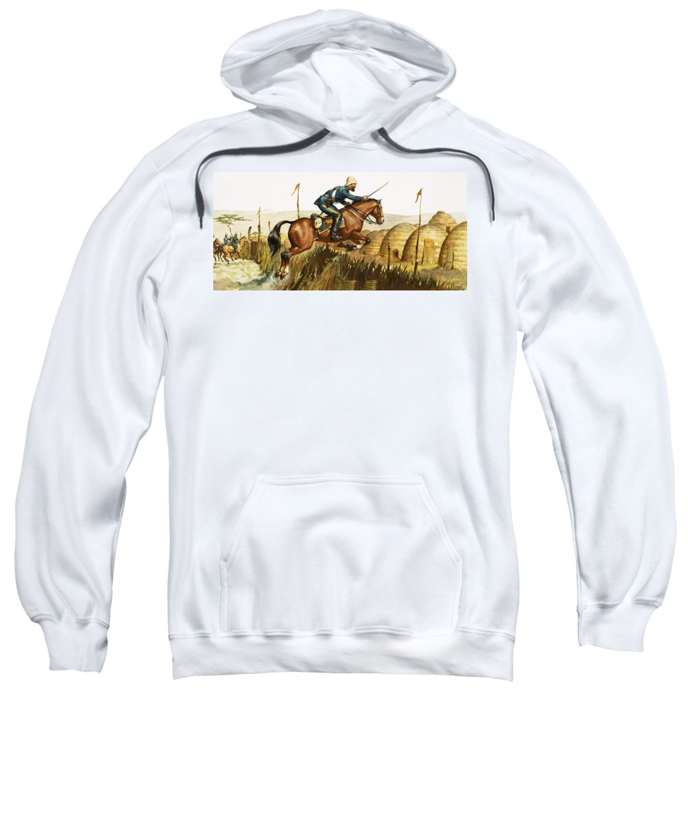 Captain Beresford; Zulu; War; Zulus; Jumping; Horse; Natives; Africa; South Africa; Colonialism; Jump Sweatshirt featuring the painting Captain Beresford In The Zulu Wars by James Edwin McConnell