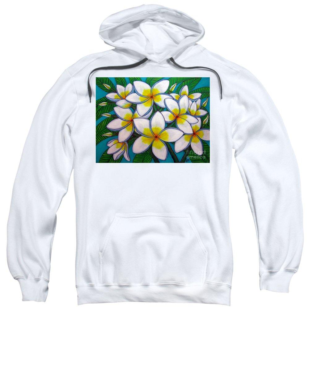 Frangipani Sweatshirt featuring the painting Caribbean Gems by Lisa Lorenz