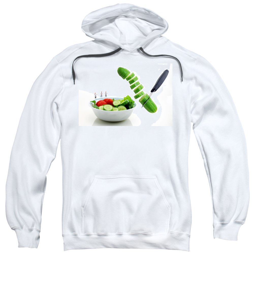 Chef Sweatshirt featuring the photograph Chefs Making Salad by Paul Ge