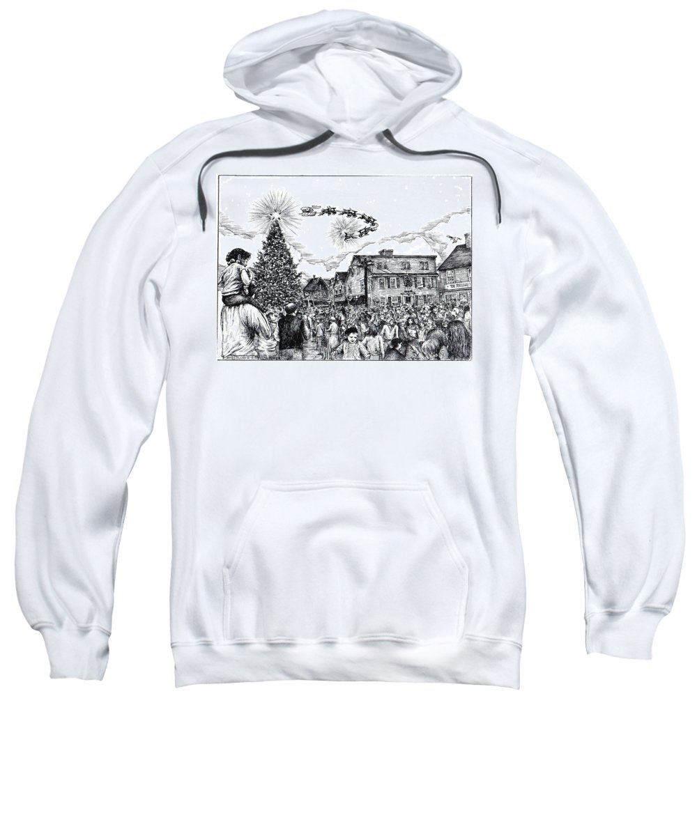 Rockport Sweatshirt featuring the drawing Christmas In Dock Square Rockport by James Oliver