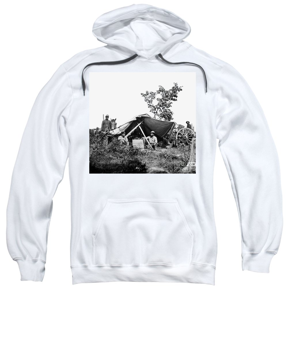 1864 Sweatshirt featuring the photograph Civil War: Telegraphers, 1864 by Granger