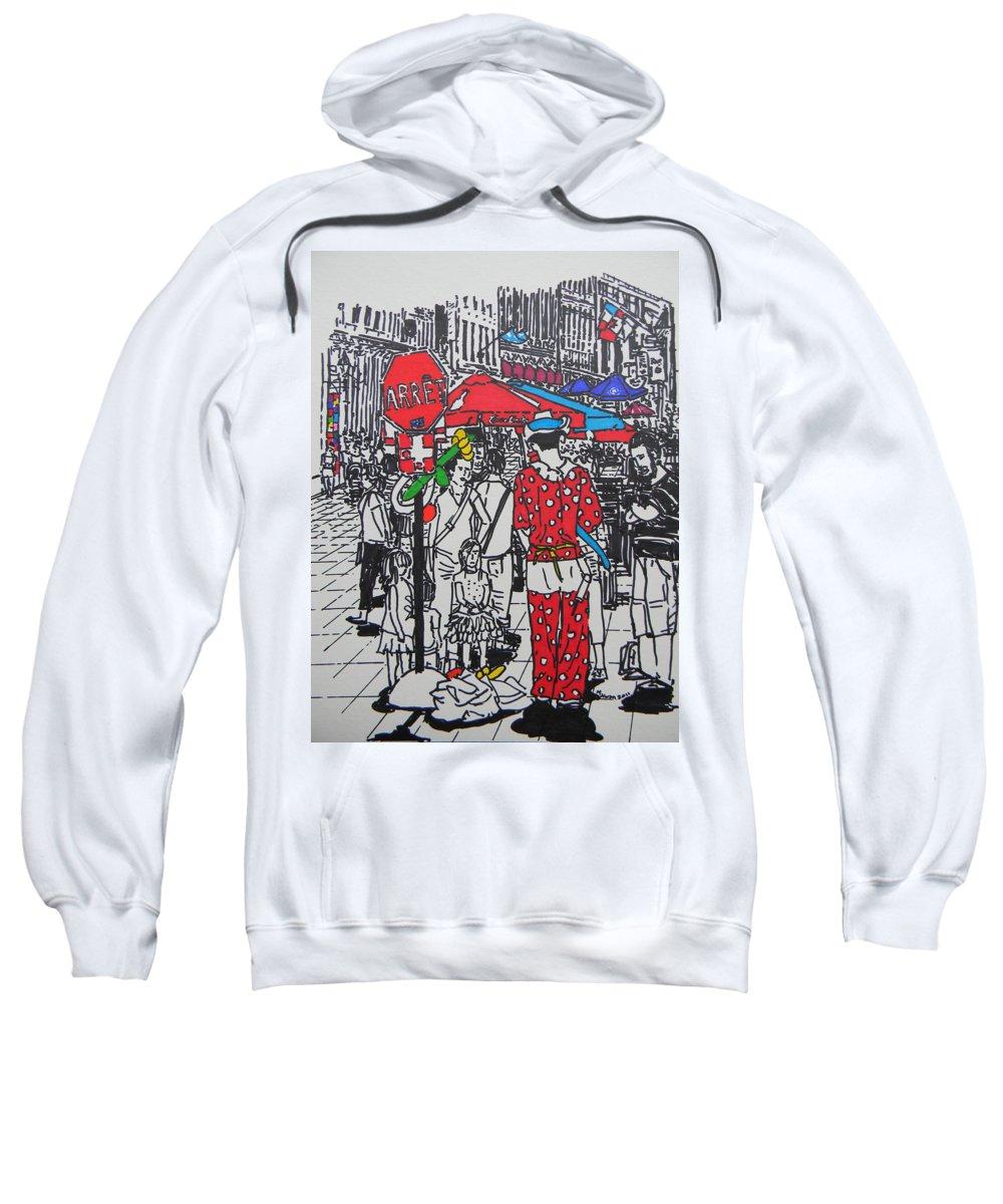 Clown Sweatshirt featuring the drawing Clown by Marwan George Khoury