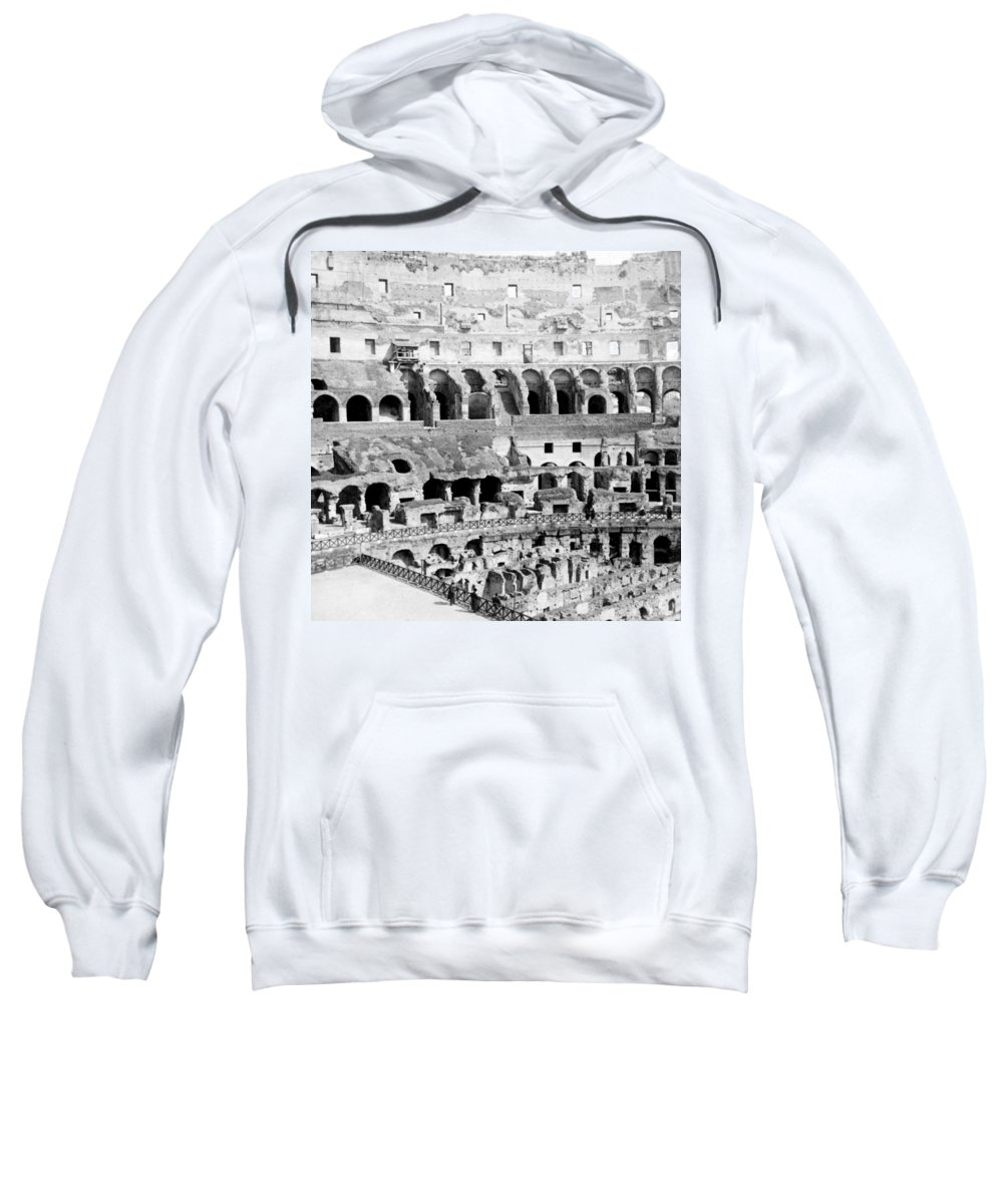 Colosseum Sweatshirt featuring the photograph Colosseum In Rome Itlay - Interior - C 1904 by International Images