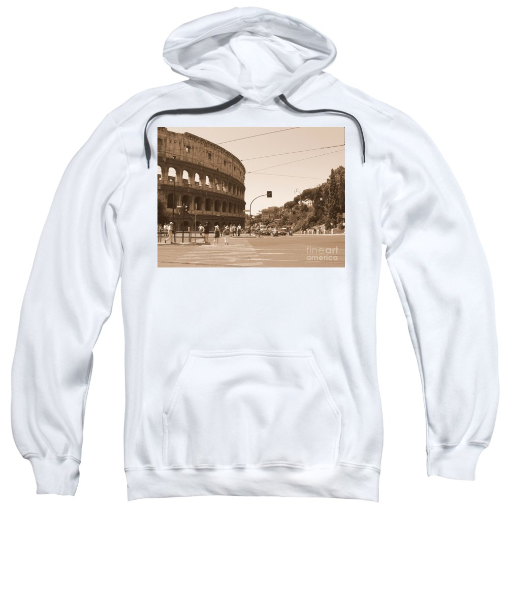 Colosseum Sweatshirt featuring the photograph Colosseum In Sepia by Laurel Best