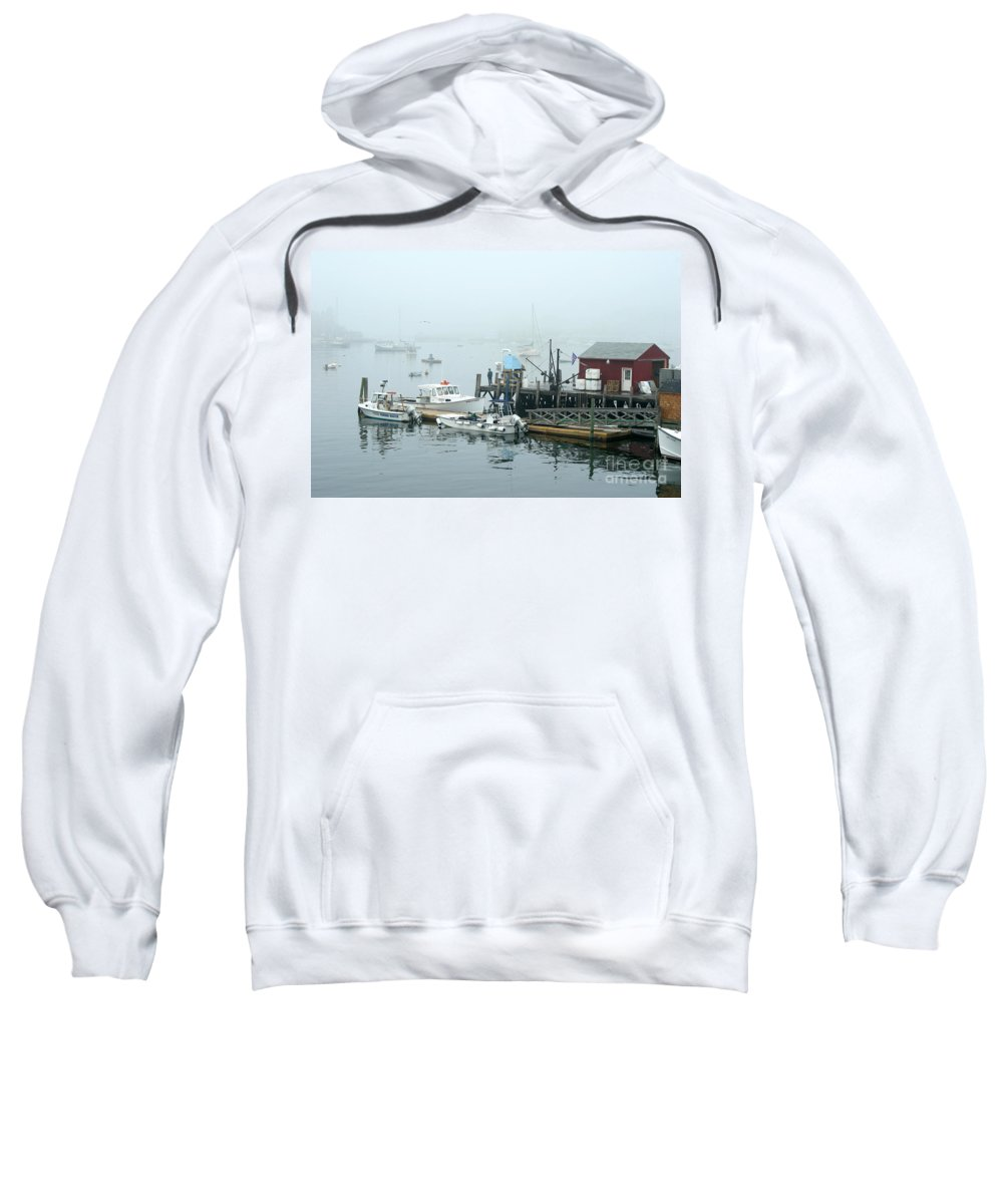 Commercial Lobster Dock Sweatshirt featuring the photograph Commercial Lobster Dock by Ted Kinsman